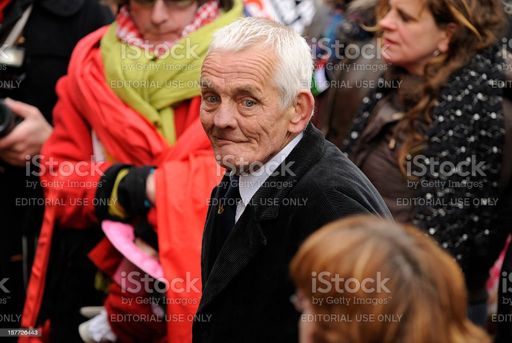 Senior adult participating in an anti-racism protest royalty-free stock photo
