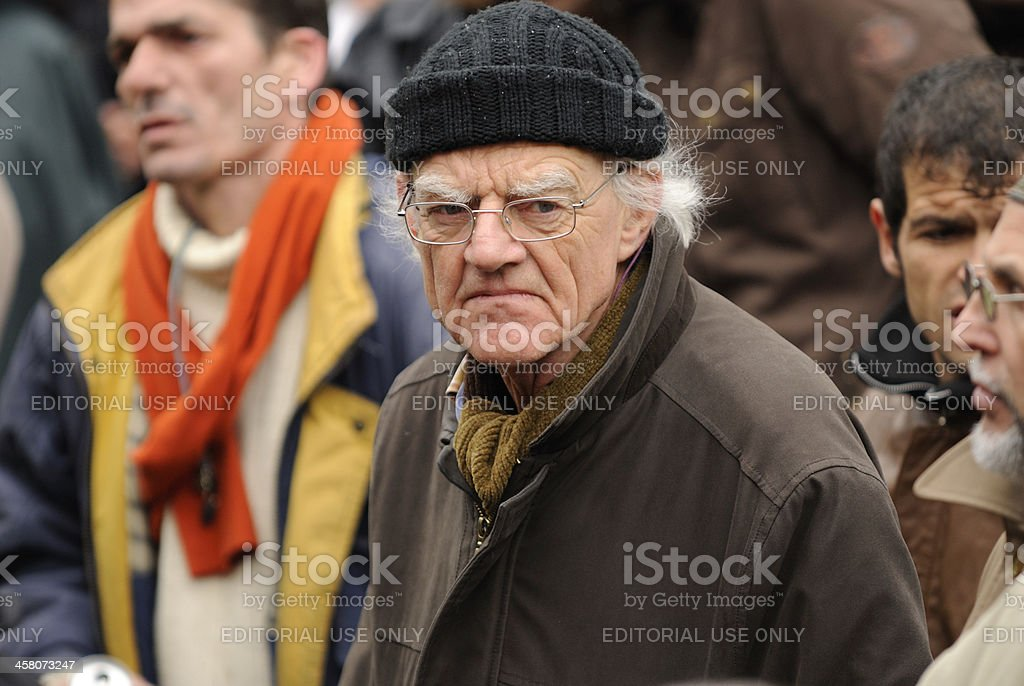 Senior adult participating in an anti-racism protest stock photo