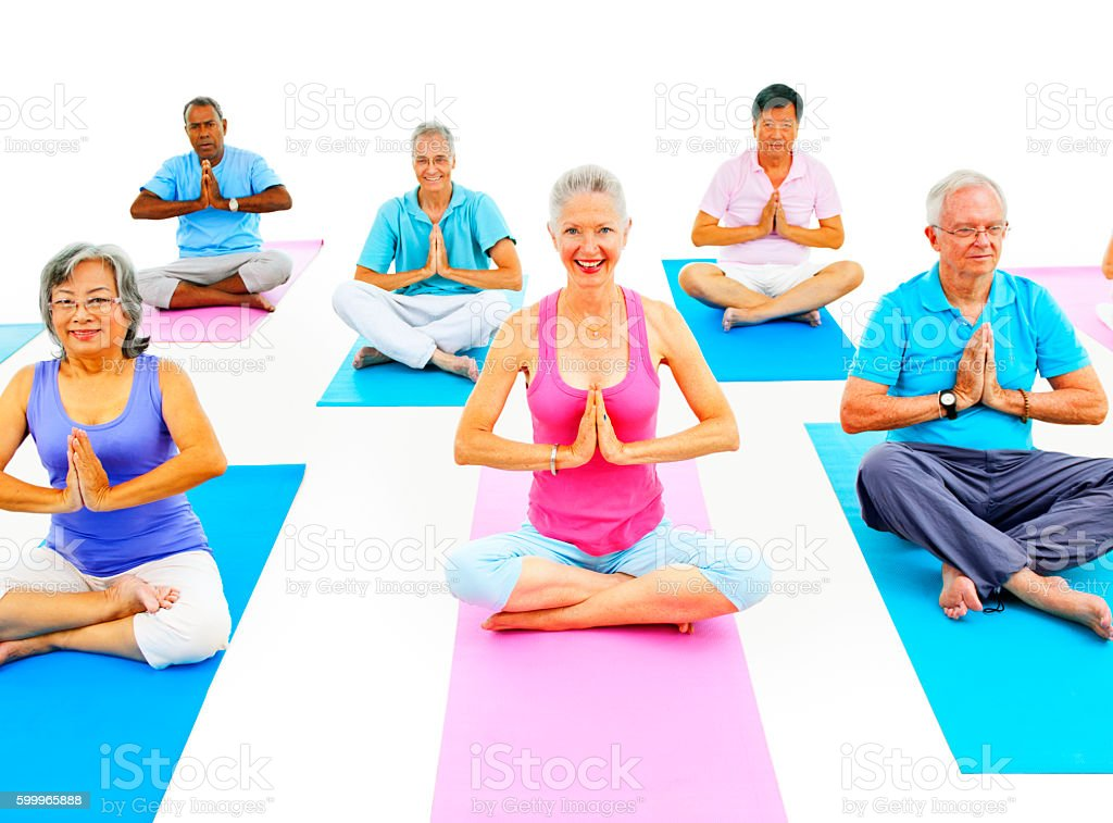 Senior Adult Relaxation Activity Meditation Yoga Concept stock photo