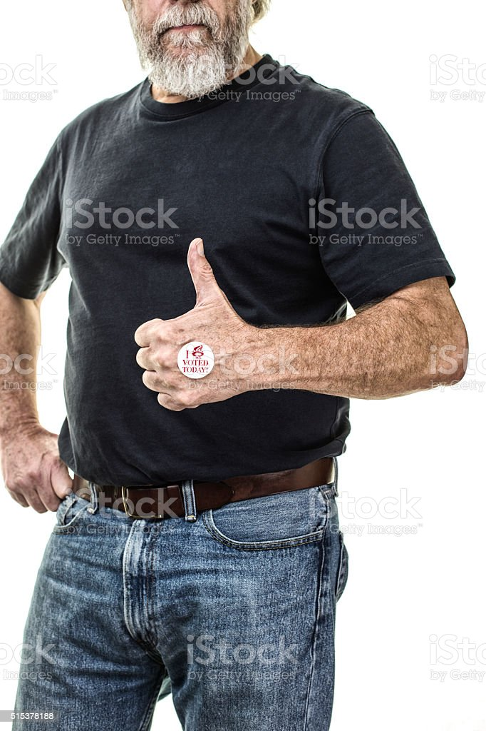 Senior Adult Voter Thumbs Up Positive Hand Gesture stock photo
