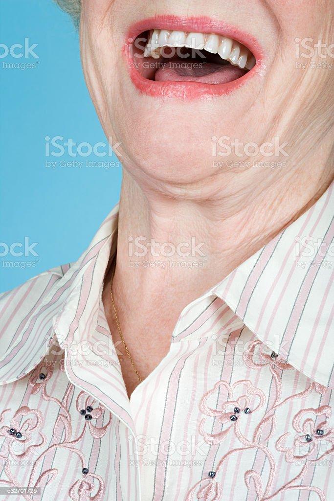 Senior adult woman laughing stock photo