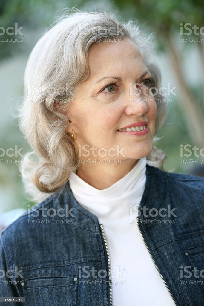 Senior Adult Woman Looking Away Portrait royalty-free stock photo