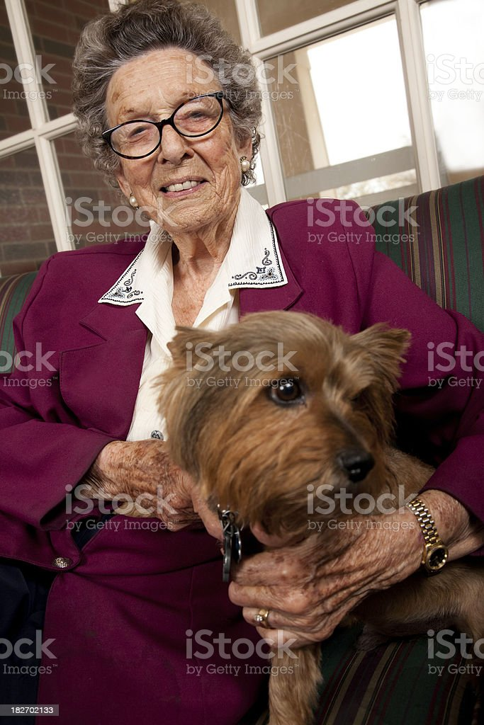 Senior Adult Woman with Her Dog royalty-free stock photo