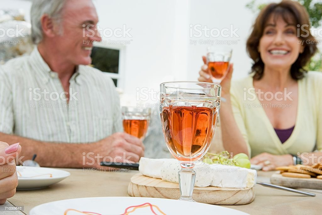 Senior adults drinking wine stock photo
