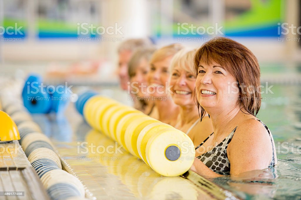 Senior Adults Lined up Before Class stock photo