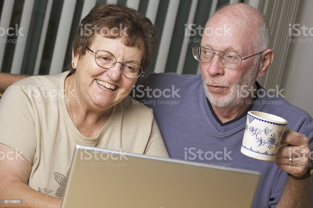 Senior Adults on Laptop Computer royalty-free stock photo