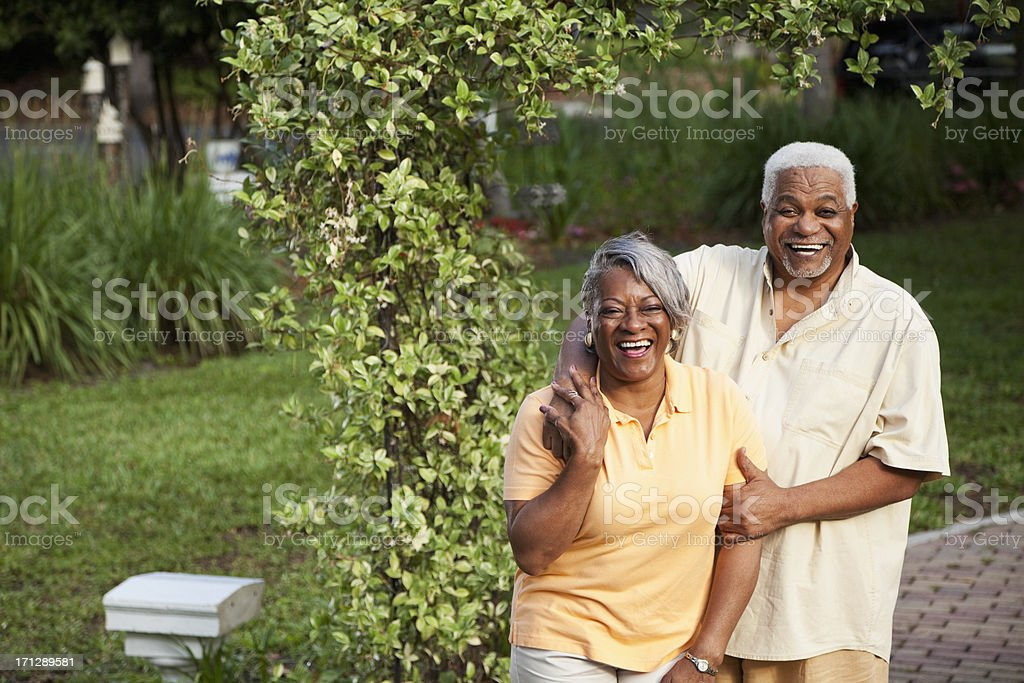 Senior African American couple at park royalty-free stock photo