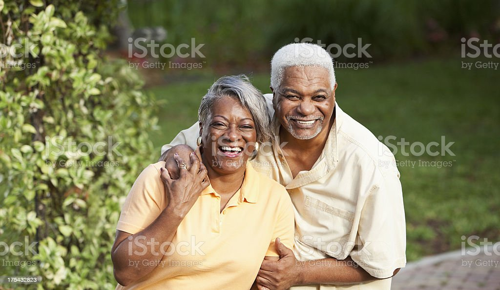 Senior African American couple at park stock photo