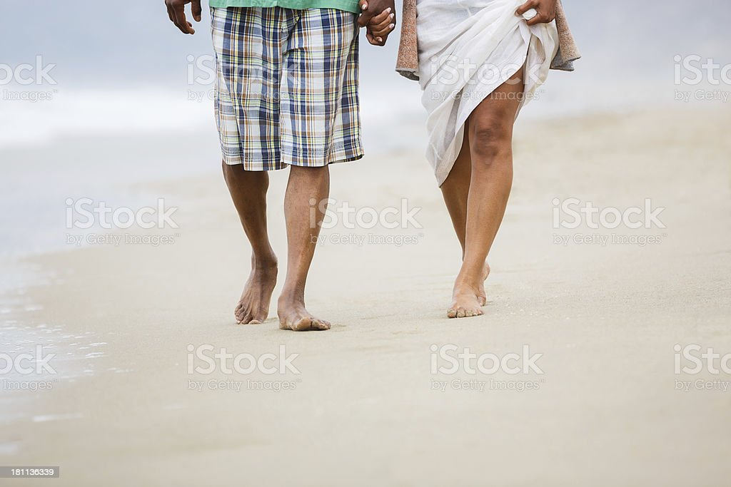 Senior African American couple holding hands royalty-free stock photo