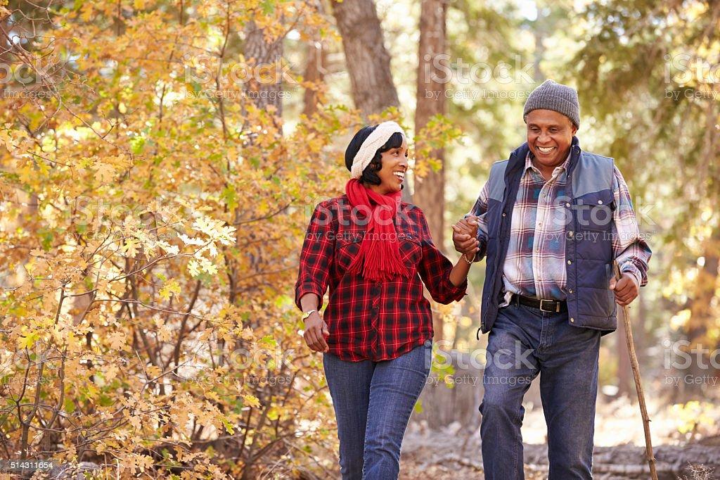 Senior African American Couple Walking Through Fall Woodland stock photo