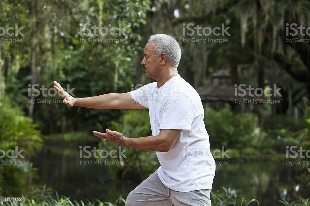 Senior African American man practicing tai chi stock photo