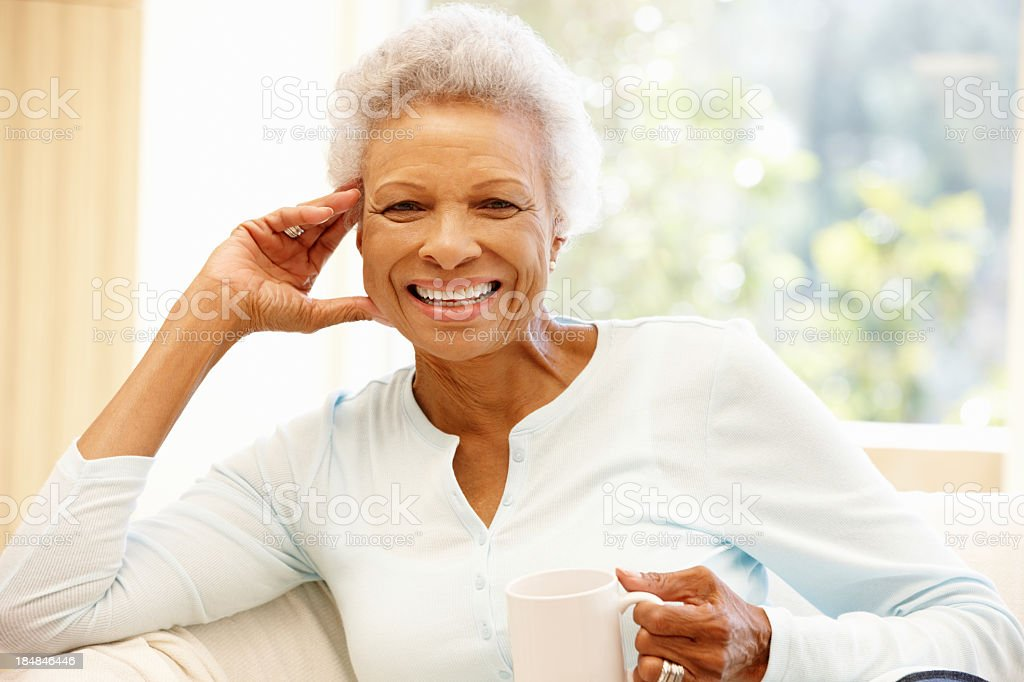 Senior African American woman at home royalty-free stock photo