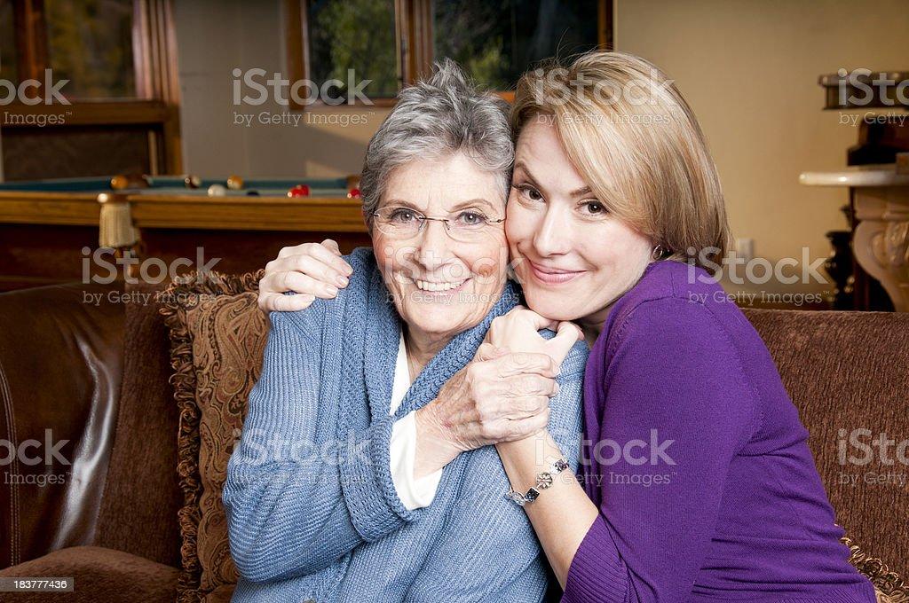 Senior and Adult Mom Hug royalty-free stock photo