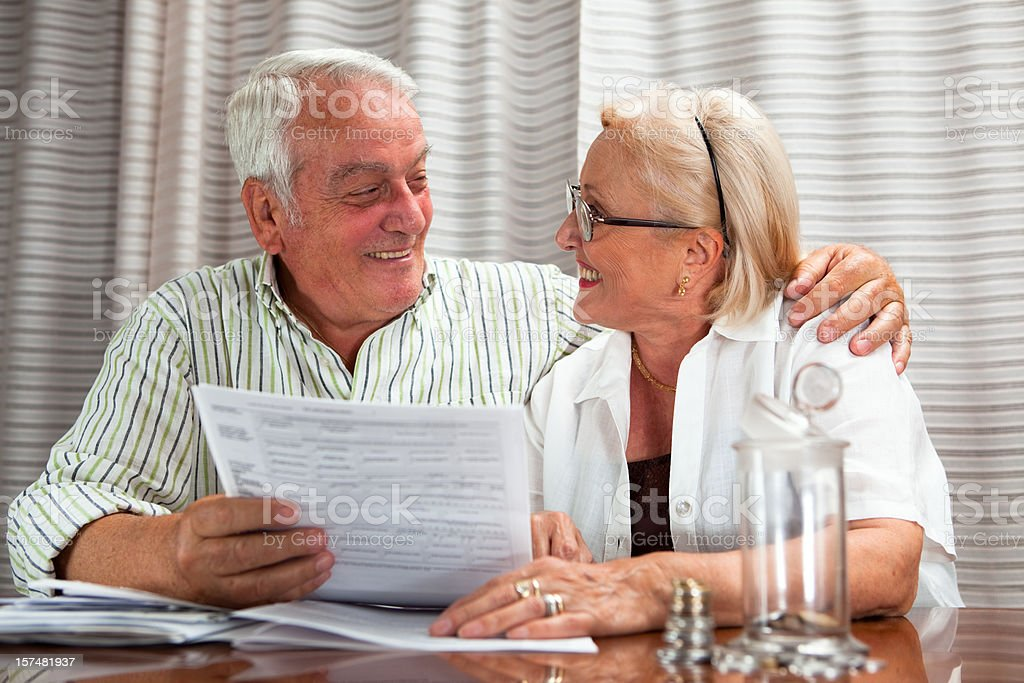 Senior and Financial Documents royalty-free stock photo