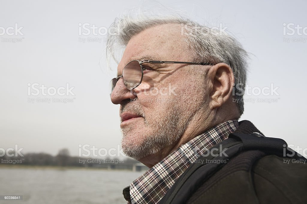 Senior and river royalty-free stock photo