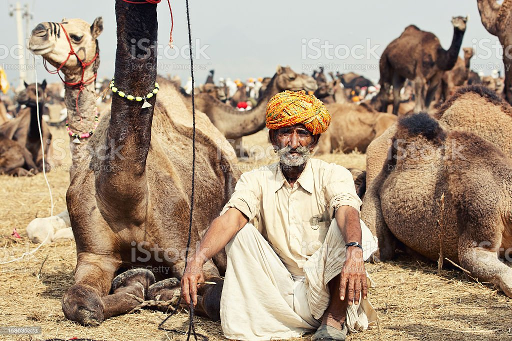 Senior asian bedouin man portrait royalty-free stock photo