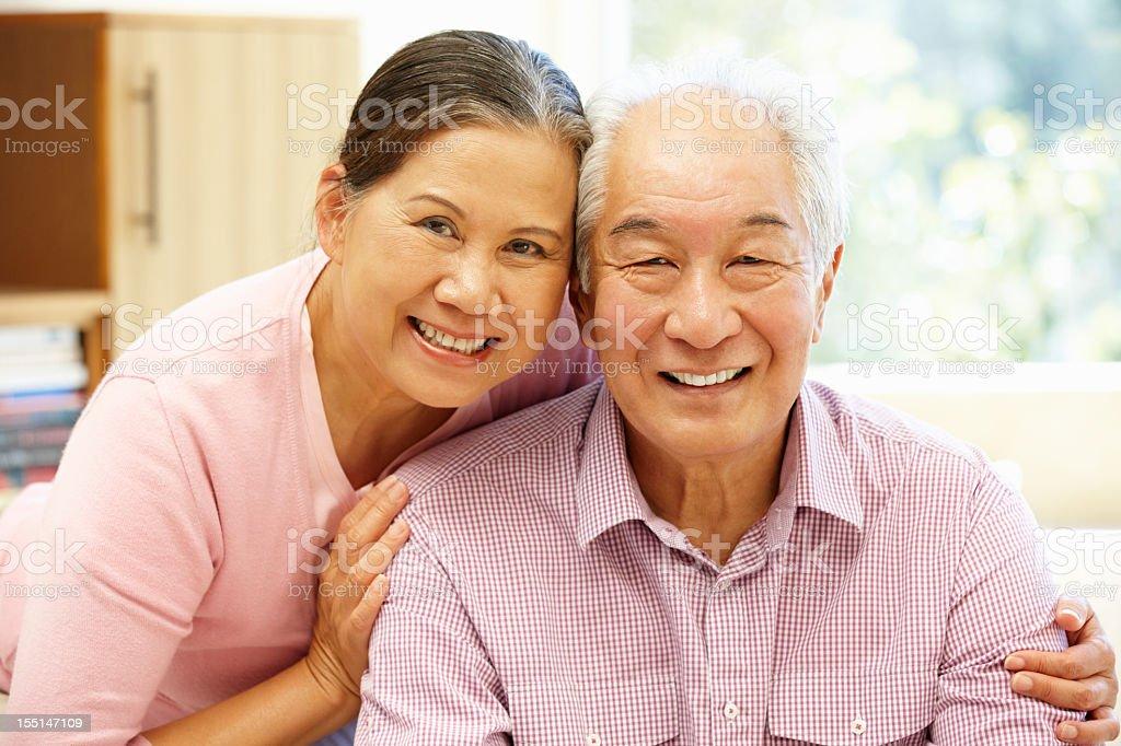 Senior Asian couple at home royalty-free stock photo
