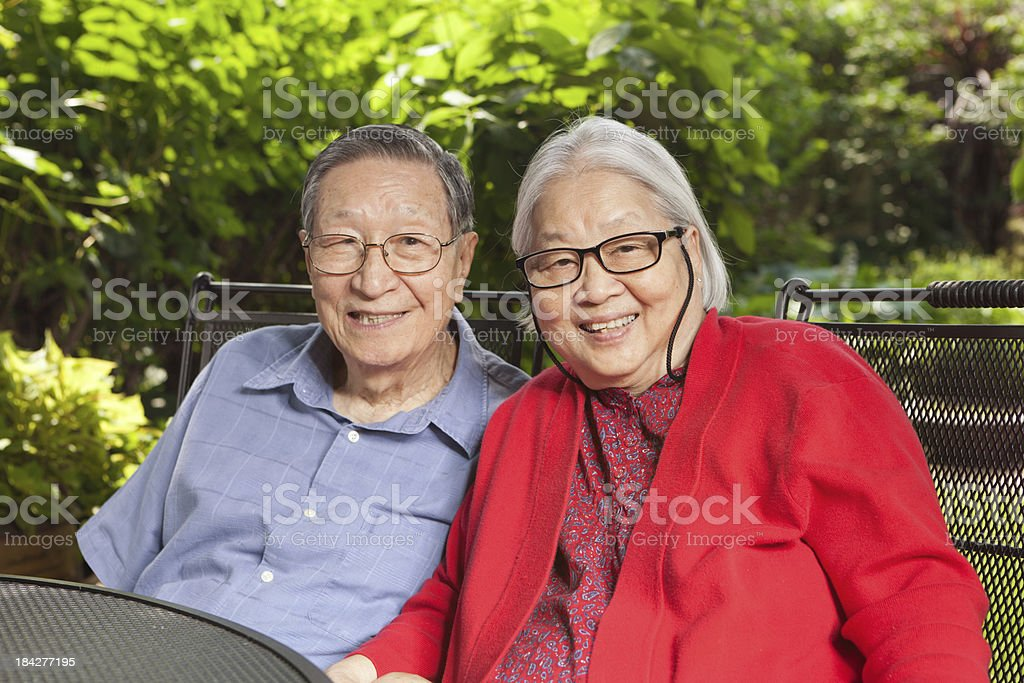 Senior Asian Couple, Chinese Mature Adult Retired Grandparents Family Outdoors royalty-free stock photo
