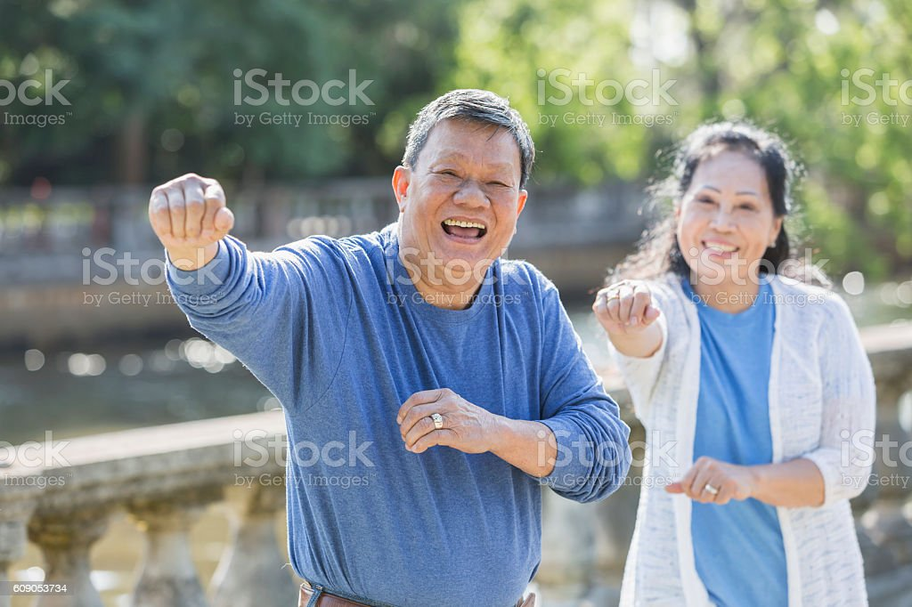 Senior Asian couple doing tai chi in park stock photo