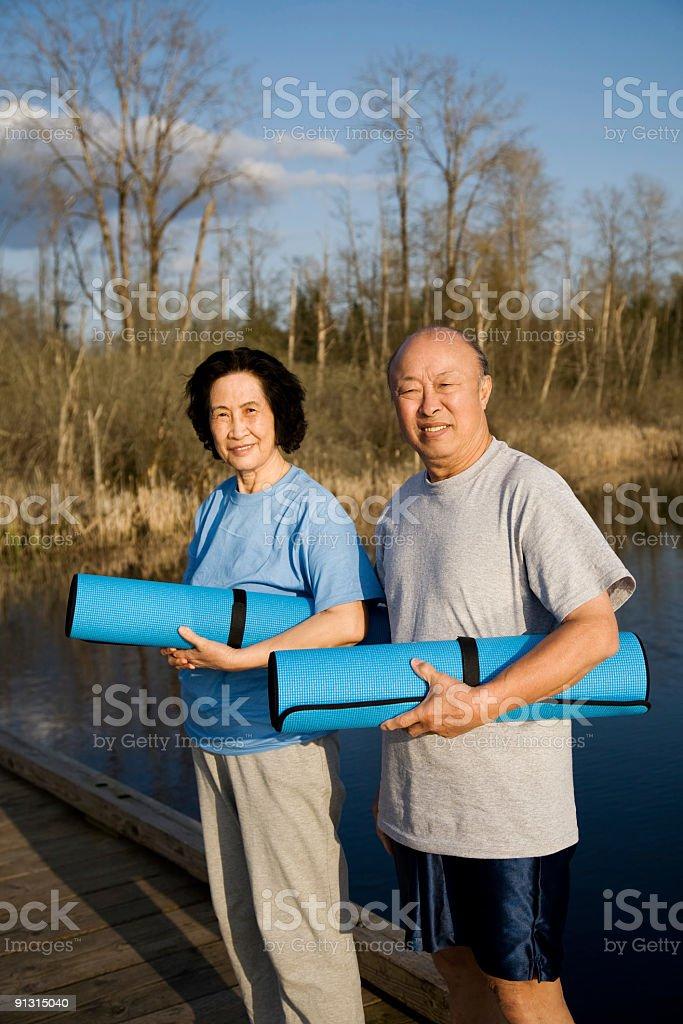 Senior asian couple exercise stock photo