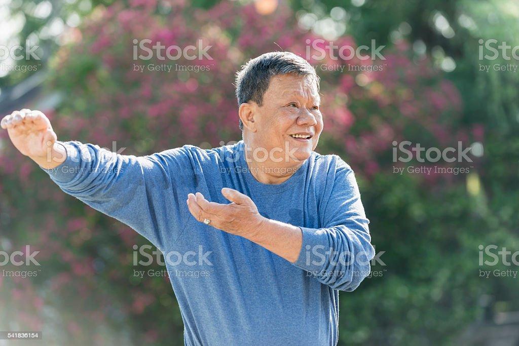 Senior Asian man doing tai chi stock photo