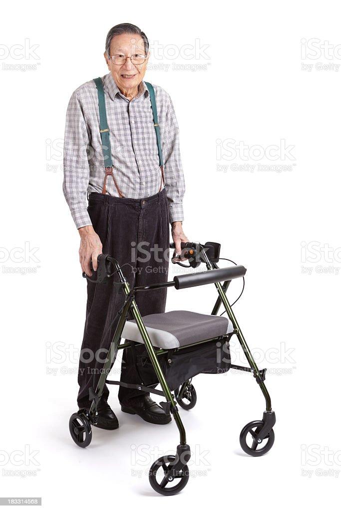 Senior Asian Man with Orthopedic Walker, Full Body, White Background stock photo