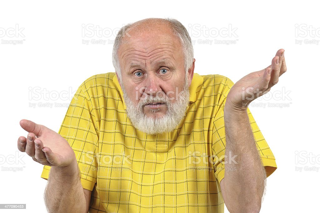 senior bald man gestures disturbance stock photo