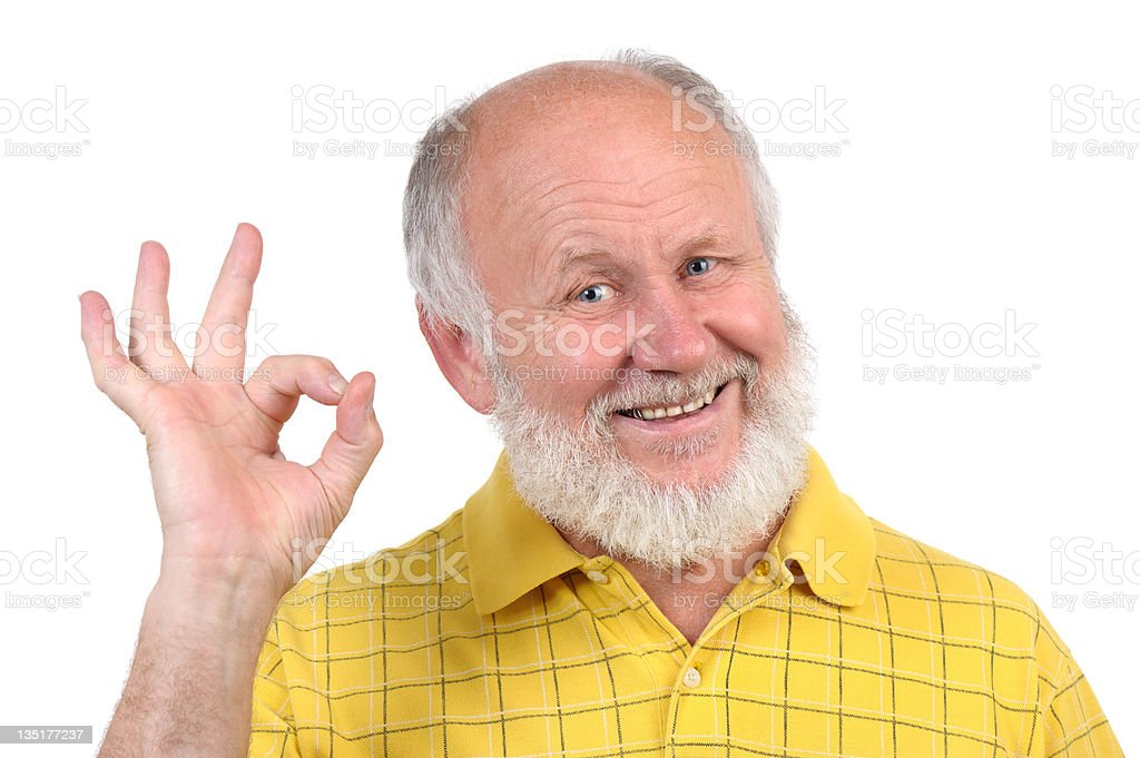 senior bald man's gestures royalty-free stock photo