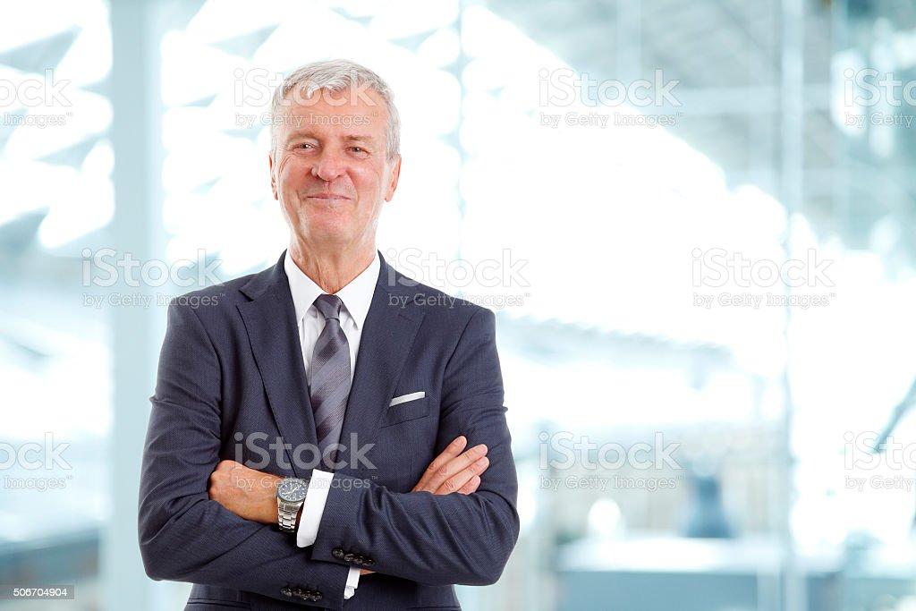 Senior broker portrait stock photo