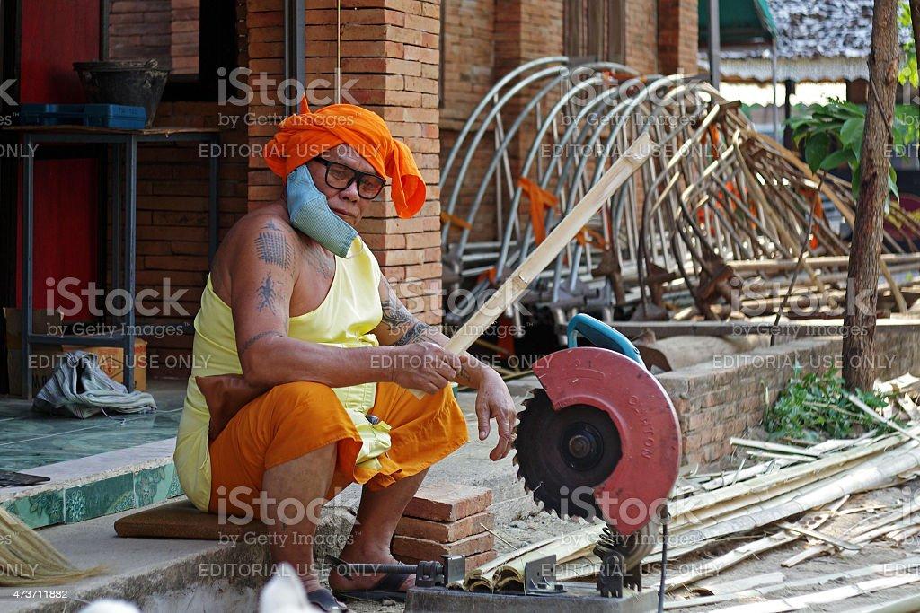 Senior Buddhist monk  in Thailand stock photo