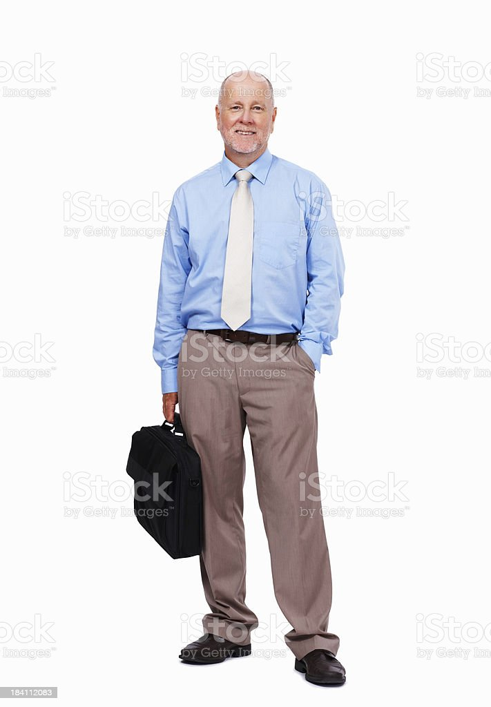 Senior business man carrying a briefcase royalty-free stock photo