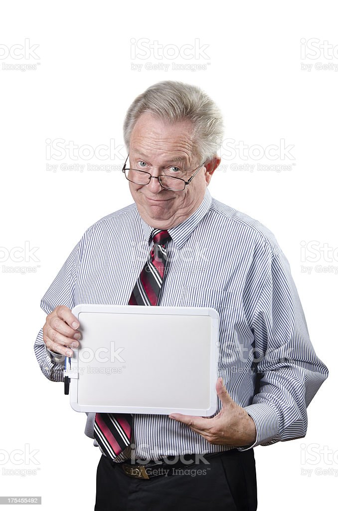 Senior Business Man Holding Blank Message Board And Smiling royalty-free stock photo