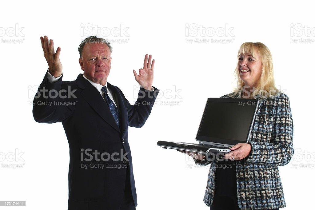Senior business man learning modern ways royalty-free stock photo