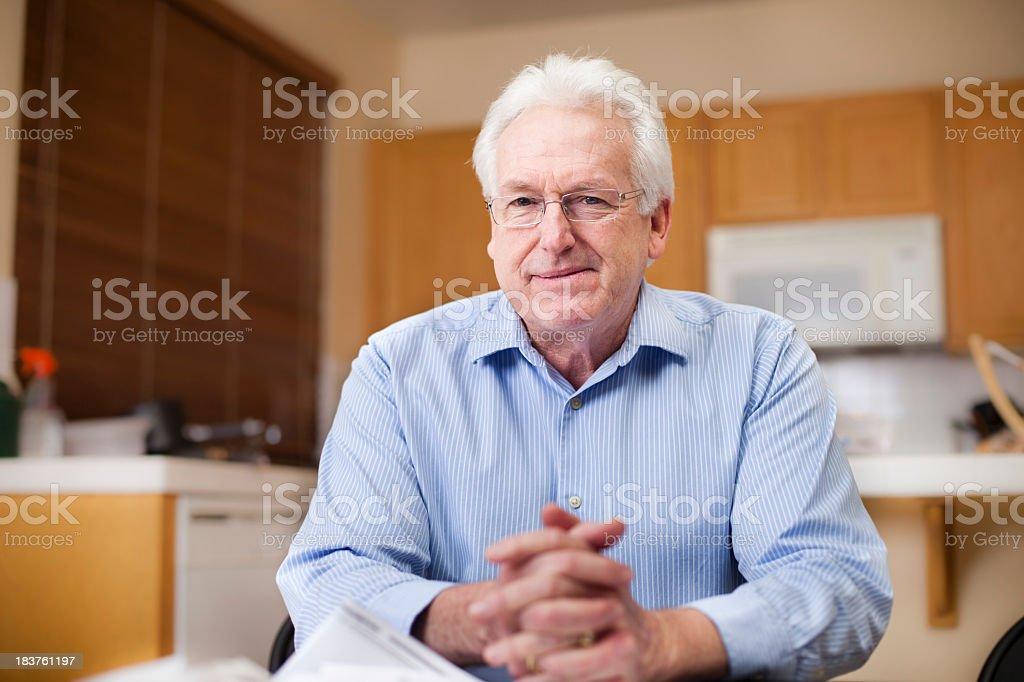 Senior Business Man Preparing Taxes royalty-free stock photo