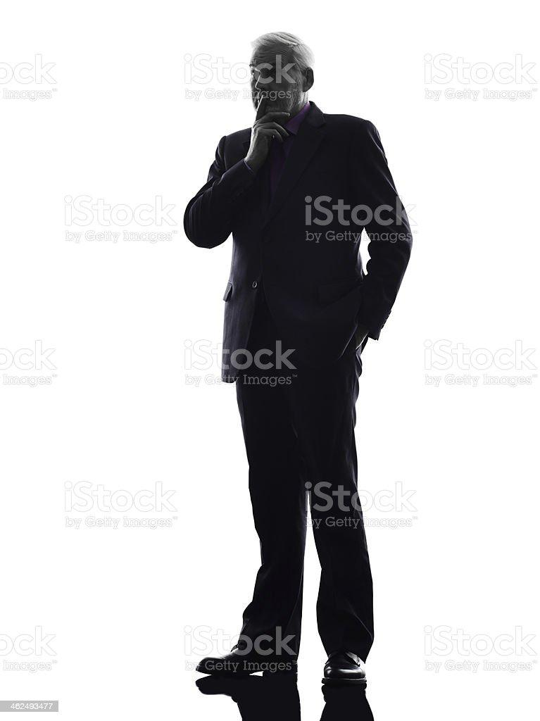 senior business man thinking silhouette royalty-free stock photo