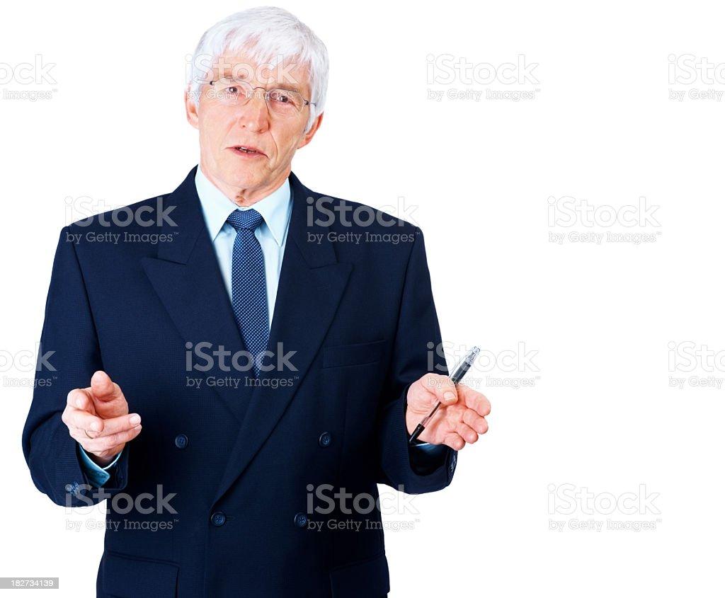 Senior businessman explaining something to you royalty-free stock photo