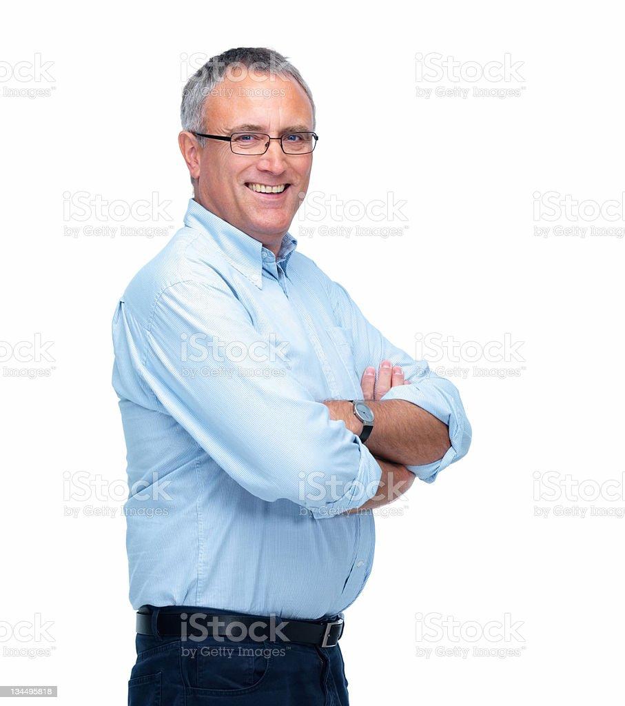 Senior businessman smiling against white background royalty-free stock photo