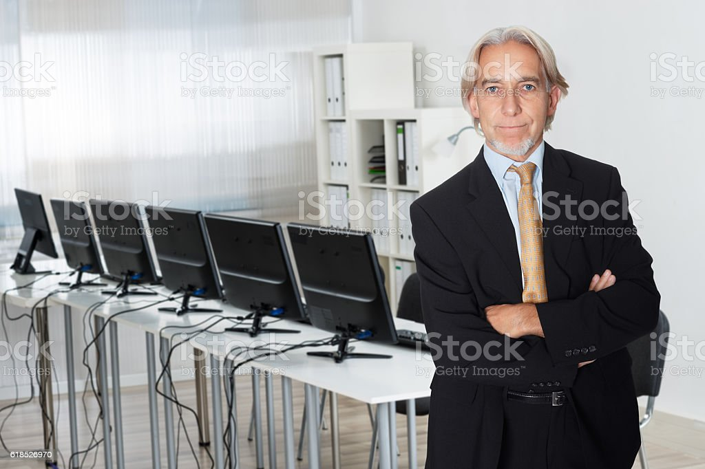 Senior Businessman Standing Arms Crossed stock photo