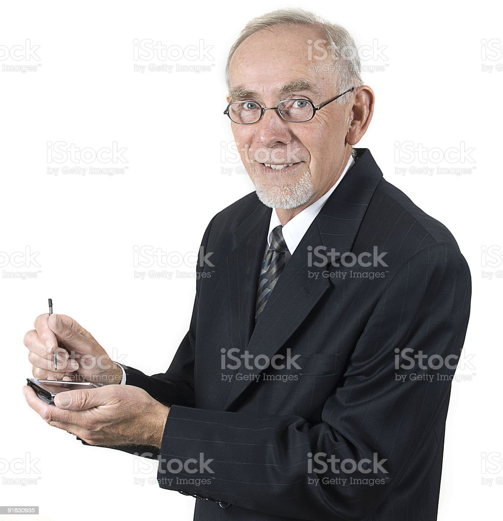 Senior Businessman with Calculator stock photo