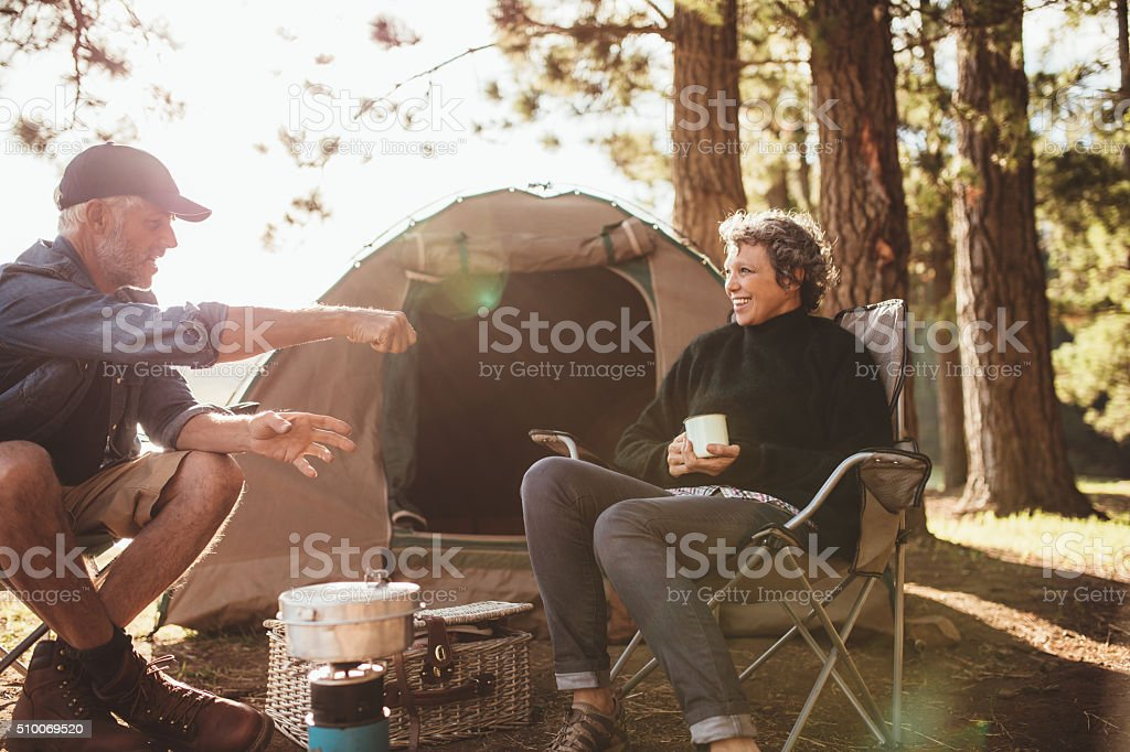 Senior campers having a good time stock photo