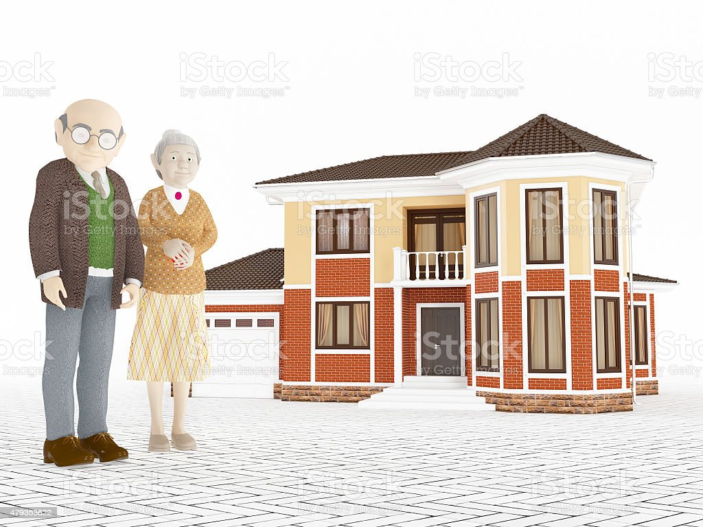 Senior cartoon couple standing in front of big house vector art illustration
