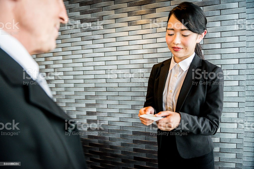 Senior Caucasian Businessman and Young Japanese Entrepreneur, Kyoto, Japan stock photo