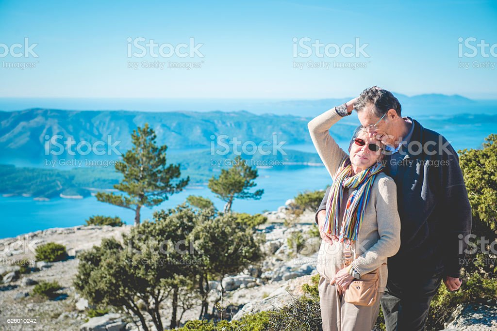 Senior Caucasian Couple on Vidova Gora in Brac, Croatia, Europe stock photo