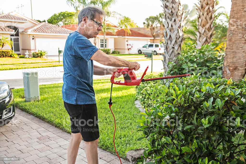 Senior caucasian man trims the hedges outside his home stock photo