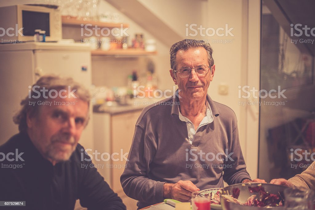 Senior Caucasian People Eating Dinner, Brac, Croatia, Europe stock photo