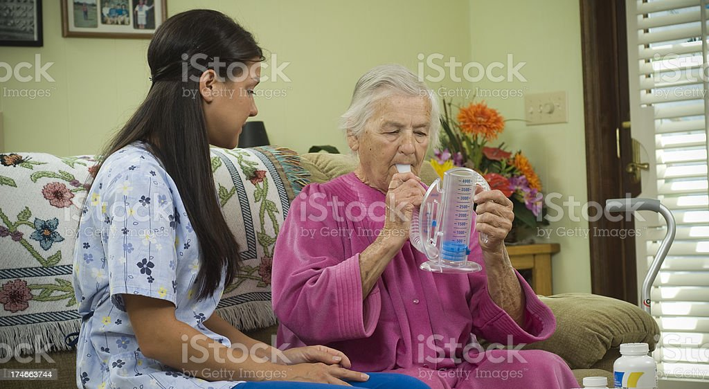 Senior citizen and medical equipment stock photo