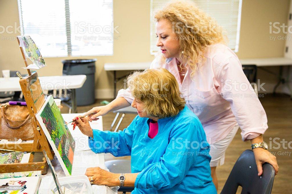 Senior citizen art class stock photo