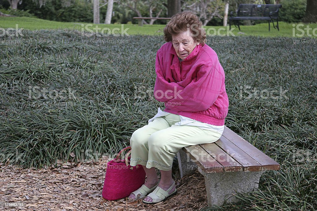 Senior Citizen Cold & Alone royalty-free stock photo