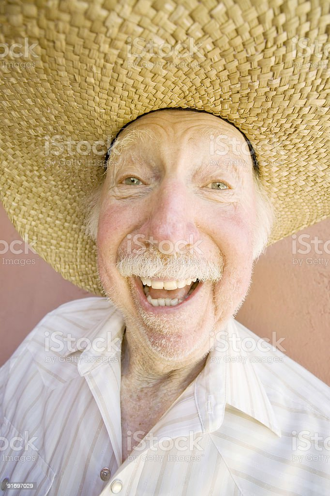 Senior Citizen Man in a Cowboy Hat royalty-free stock photo