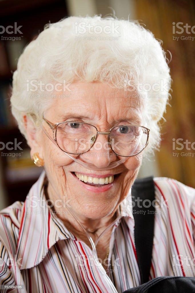 Senior Citizen Woman with Oxygen Tube royalty-free stock photo